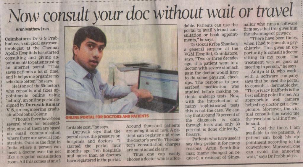 Article on iCliniq with the photo of our founder Duruvak kumar on The Times of India,Trichy edition(First page). Date : July 9th 2012